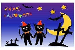 黒猫 イラスト 壁紙 背景 ハロウィーン 無料 フリー