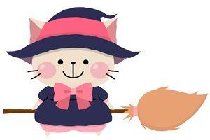 猫 イラスト ハロウィン 魔女 コスプレ かわいい 無料 フリー