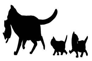 猫 イラスト シルエット 白黒 無料 親子 猫ファミリー