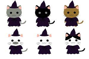 猫 イラスト 可愛い ハロウィン コスプレ 魔城 無料 フリー