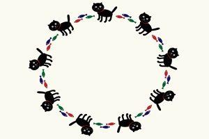 黒猫 クロネコ イラスト フレーム 無料 フリー