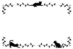 猫 イラスト シルエット 白黒 フレーム 枠 無料