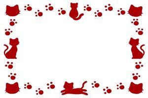 猫 シルエット 赤 フレーム 無料 フリー