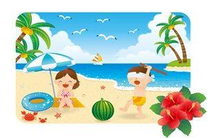 暑中見舞い イラスト 子供用 海水浴 スイカ割り 無料 フリー