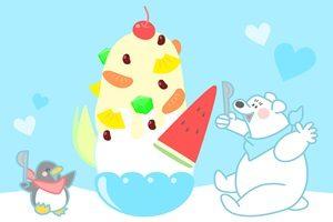 かき氷 しろくま ペンギン イラスト 無料 フリー