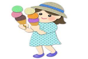 アイスクリーム 女の子 食べる イラスト 無料 フリー