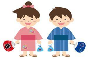 暑中見舞い イラスト 子供用 浴衣 お祭り 金魚 フリー 無料