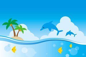 暑中見舞い イラスト イルカ 無料 フリー