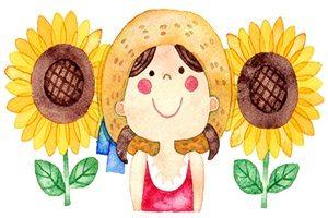 暑中見舞い イラスト ひまわり 子供 無料 フリー
