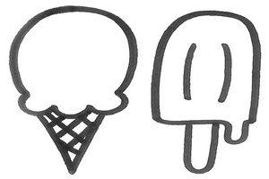 アイスクリーム アイスキャンディー イラスト 白黒 塗り絵 無料 フリー