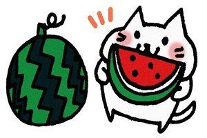 スイカ 猫 イラスト かわいい 無料 フリー 画像