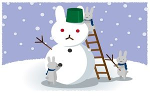 雪だるま うさぎ ウサギ雪だるま イラスト 無料 フリー かわいい