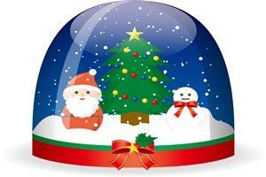 雪だるま サンタクロース スノードーム イラスト 無料 フリー 北欧風 おしゃれ かわいい