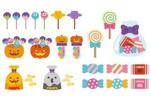ハロウィン お菓子セット イラスト 素材 無料 フリー