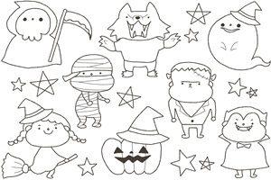 無料ハロウィンの手書き風イラストかわいいおしゃれかっこいい