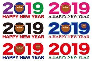 2019 亥年 年賀状 イラスト 素材 無料 フリー ロゴ