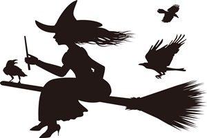 ハロウィン イラスト 魔女 シルエット 白黒 モノクロ 無料 フリー