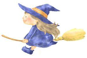 ハロウィン イラスト 手描き 魔女 女の子 ほうき 無料 フリー