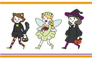 ハロウィン イラスト 女の子 コスプレ 仮装 手描き かわいい 無料 フリー
