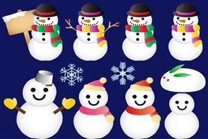 スノーマン ゆきだるま 雪の結晶 イラスト フリー おしゃれ かわいい