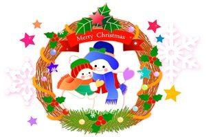 ゆきだるま クリスマス クリスマスリース イラスト おしゃれ かわいい 無料 フリー