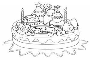 クリスマスケーキ イラスト 白黒 塗り絵 無料 フリー
