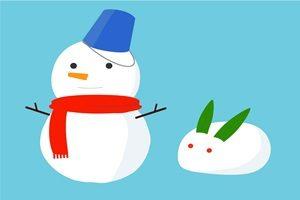 雪だるま 雪うさぎ イラスト 無料 フリー 可愛い