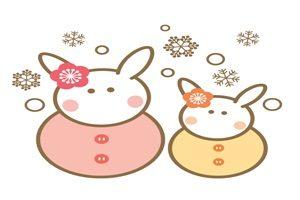 雪だるま うさぎ 雪うさぎ ウサギ雪だるま イラスト 無料 フリー 可愛い