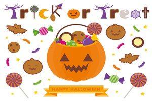 ハロウィン イラスト お菓子セット かぼちゃ バケツ 無料 フリー