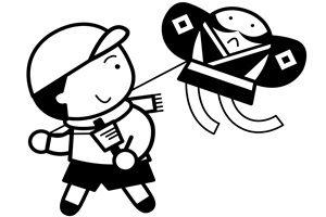 お正月 凧揚げ イラスト 白黒 塗り絵 無料 商用フリー 素材
