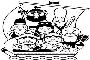お正月 イラスト 七福神 白黒 塗り絵 無料 商用フリー 素材