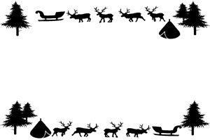 トナカイ イラスト フレーム 白黒 モノクロ シルエット 無料 商用フリー