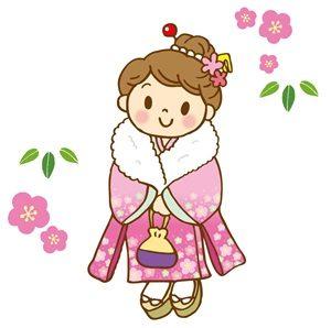 お正月 イラスト 振り袖 着物 女の子 かわいい 無料 商用フリー