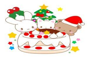 クリスマスケーキ イラスト 動物 かわいい クリスマスパーティー 無料 商用フリー