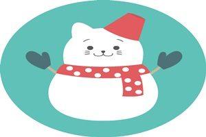 雪だるま 猫 ネコ雪だるま イラスト 無料 フリー かわいい