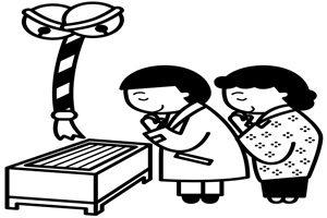 お正月 初詣 神社 イラスト 白黒 塗り絵 無料 商用フリー 素材