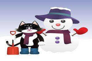 雪だるま 猫 イラスト 無料 フリー かわいい