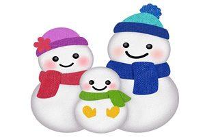 雪だるま 家族 親子 イラスト かわいい 無料 フリー