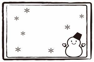 雪だるま イラスト フレーム 白黒 モノクロ 無料 フリー