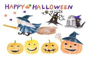 ハロウィン イラスト 手書き かわいい 無料 フリー 魔女 ほうき かぼちゃ クロネコ 墓