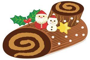 クリスマスケーキ イラスト ブッシュドノエル かわいい おしゃれ サンタ ゆきだるま 無料 商用フリー