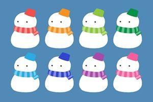 雪だるま イラスト かわいい マフラー カラフル 無料 フリー