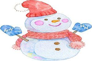 雪だるま 水彩画 イラスト 無料 フリー おしゃれ かわいい