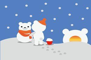 雪だるま 白クマ くま イラスト 無料 フリー かわいい