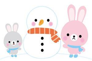 雪だるま うさぎ イラスト 無料 フリー かわいい