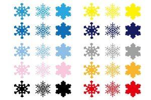 雪の結晶 イラスト 素材 カラフル 無料 商用フリー