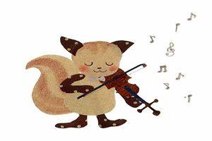 リス イラスト バイオリン 無料 フリー