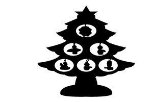 クリスマスツリー イラスト 白黒 モノクロ オーナメント シルエット 無料 フリー
