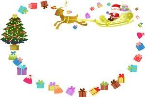 クリスマスツリー プレゼント サンタ イラスト フレーム かわいい 無料 フリー