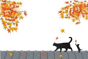 もみじ 猫 黒猫 イラスト 無料 フリー おしゃれ かわいい 秋 紅葉